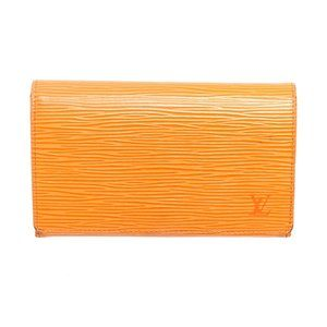 Louis Vuitton Orange Leather Porte Tresor Wallet